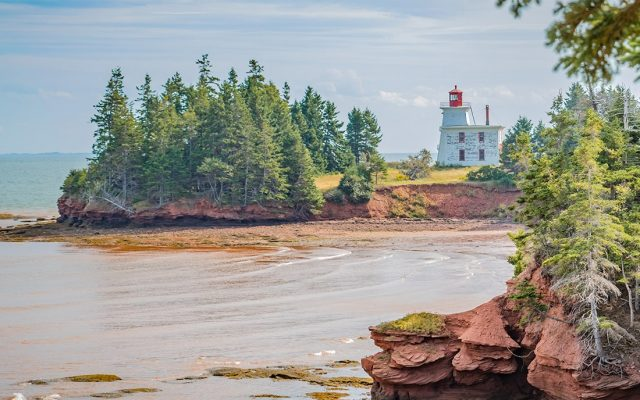 PEI scenic Red Sands Shore drive to Fort Amherst National Historic site and Blockhouse Point Lighthouse (1876) takes you on red clay roads winding through the countryside of farmlands, rolling hills and woodlands and then onto impressive red sandstone cliffs and red sand beaches. Irish Moss can be found here.